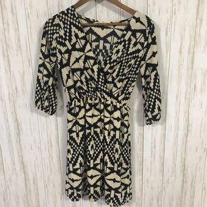 Everly Cream and black geometric dress Small